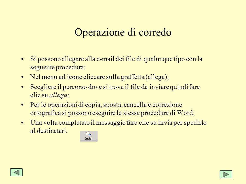 Operazione di corredo Si possono allegare alla e-mail dei file di qualunque tipo con la seguente procedura: Nel menu ad icone cliccare sulla graffetta