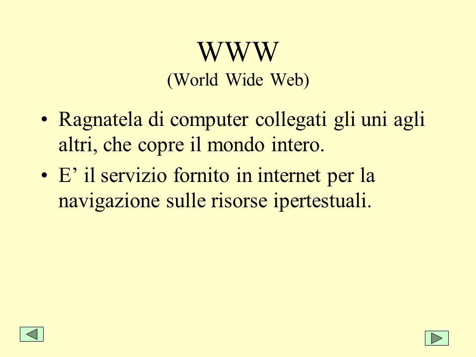 WWW (World Wide Web) Ragnatela di computer collegati gli uni agli altri, che copre il mondo intero. E il servizio fornito in internet per la navigazio