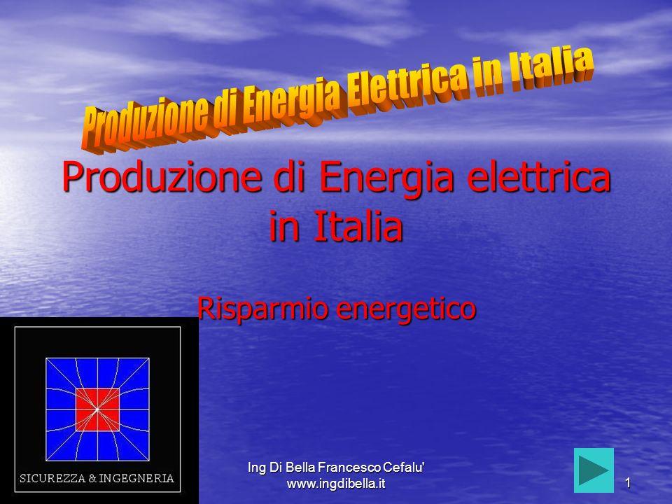 Ing Di Bella Francesco Cefalu www.ingdibella.it2 Consumi Nel 2005 LIalia ha consumato325000Gwh (Gigawattora) di energia elettrica.