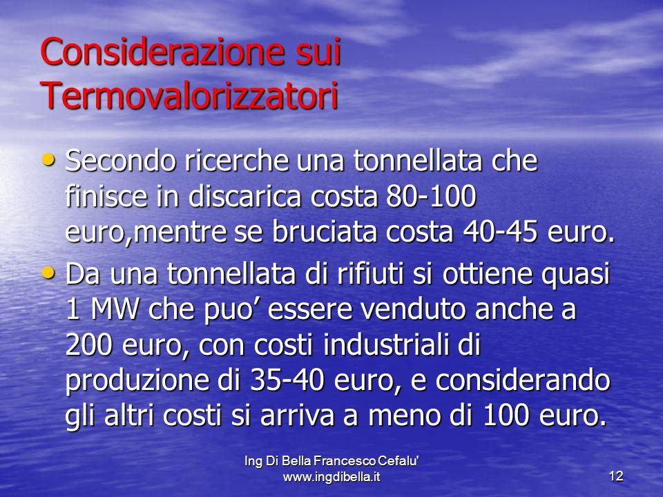 Ing Di Bella Francesco Cefalu' www.ingdibella.it12 Considerazione sui Termovalorizzatori Secondo ricerche una tonnellata che finisce in discarica cost