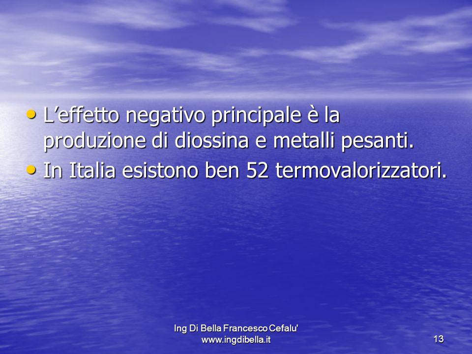 Ing Di Bella Francesco Cefalu' www.ingdibella.it13 Leffetto negativo principale è la produzione di diossina e metalli pesanti. Leffetto negativo princ