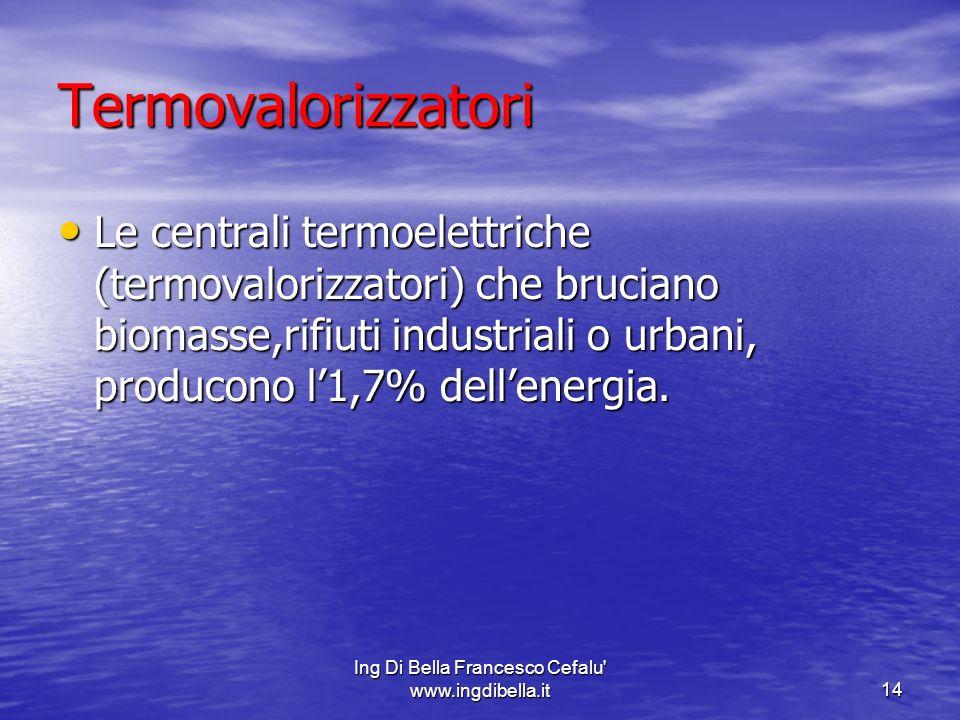 Ing Di Bella Francesco Cefalu' www.ingdibella.it14 Termovalorizzatori Le centrali termoelettriche (termovalorizzatori) che bruciano biomasse,rifiuti i