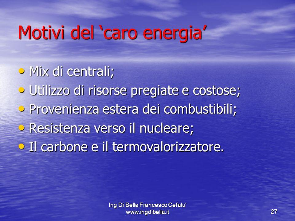 Ing Di Bella Francesco Cefalu' www.ingdibella.it27 Motivi del caro energia Mix di centrali; Mix di centrali; Utilizzo di risorse pregiate e costose; U