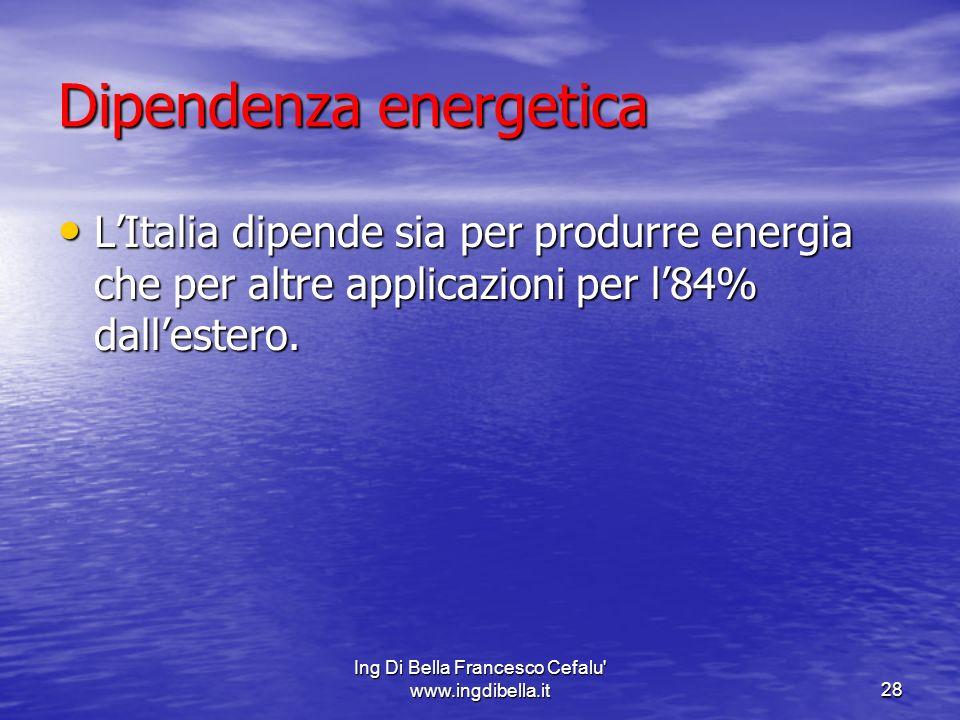 Ing Di Bella Francesco Cefalu' www.ingdibella.it28 Dipendenza energetica LItalia dipende sia per produrre energia che per altre applicazioni per l84%