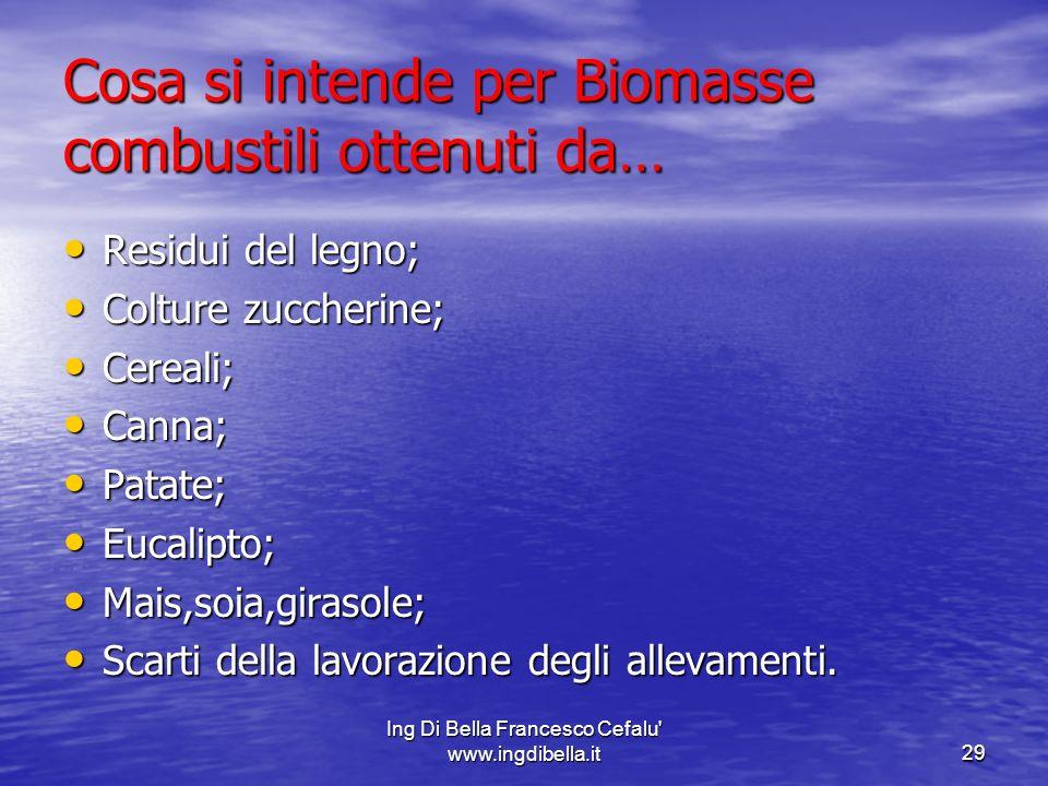 Ing Di Bella Francesco Cefalu' www.ingdibella.it29 Cosa si intende per Biomasse combustili ottenuti da… Residui del legno; Residui del legno; Colture