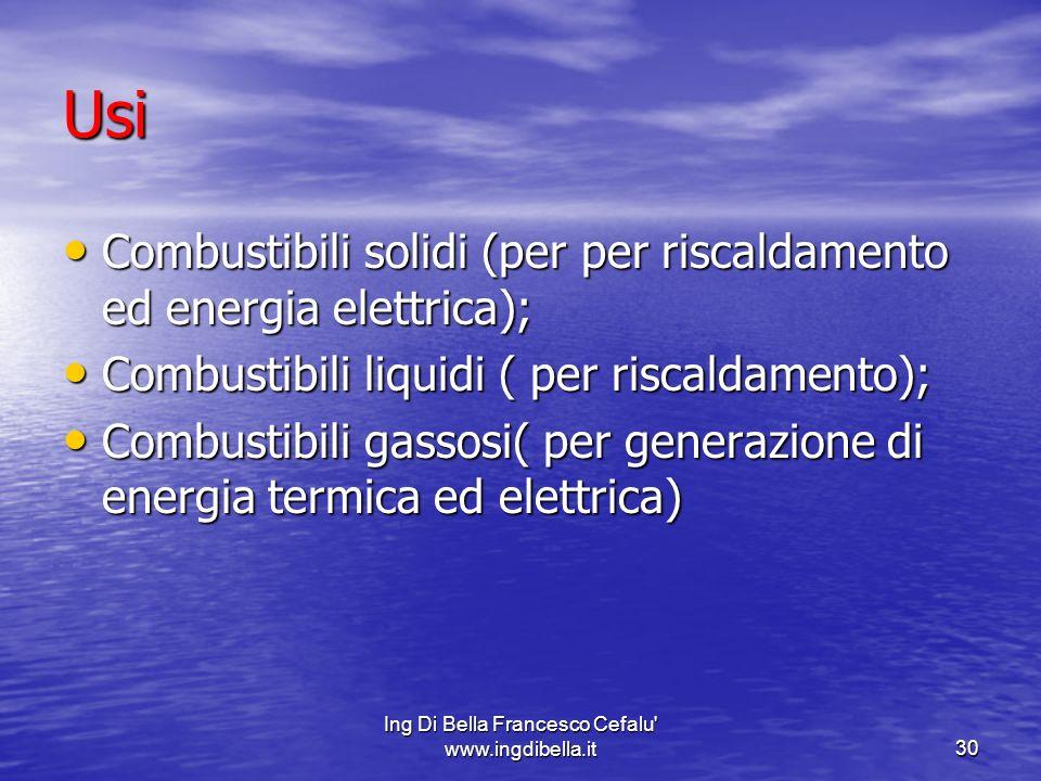 Ing Di Bella Francesco Cefalu' www.ingdibella.it30 Usi Combustibili solidi (per per riscaldamento ed energia elettrica); Combustibili solidi (per per