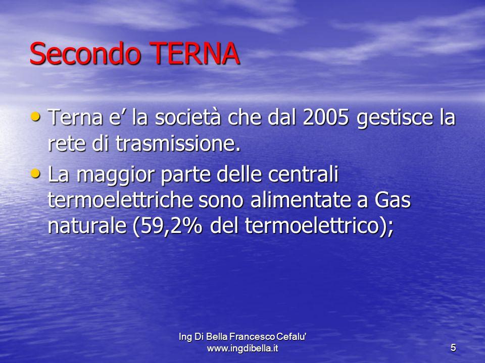 Ing Di Bella Francesco Cefalu www.ingdibella.it6 Quindi il termoelettrico risulta cosi suddiviso: Quindi il termoelettrico risulta cosi suddiviso: A) 17,3% carbone; A) 17,3% carbone; B)14,2% derivati petroliferi; B)14,2% derivati petroliferi; C)2,3 % gas derivati da gas di acciaierie,di altoforno,di cokeria,di raffineria; C)2,3 % gas derivati da gas di acciaierie,di altoforno,di cokeria,di raffineria; C) 7% fonti combustibili minori sia fossili che rinnovabili (biomassa,rifiuti,petrolio,orimulsion,bitume,altri); C) 7% fonti combustibili minori sia fossili che rinnovabili (biomassa,rifiuti,petrolio,orimulsion,bitume,altri); D) centrali a gas 59,2%.