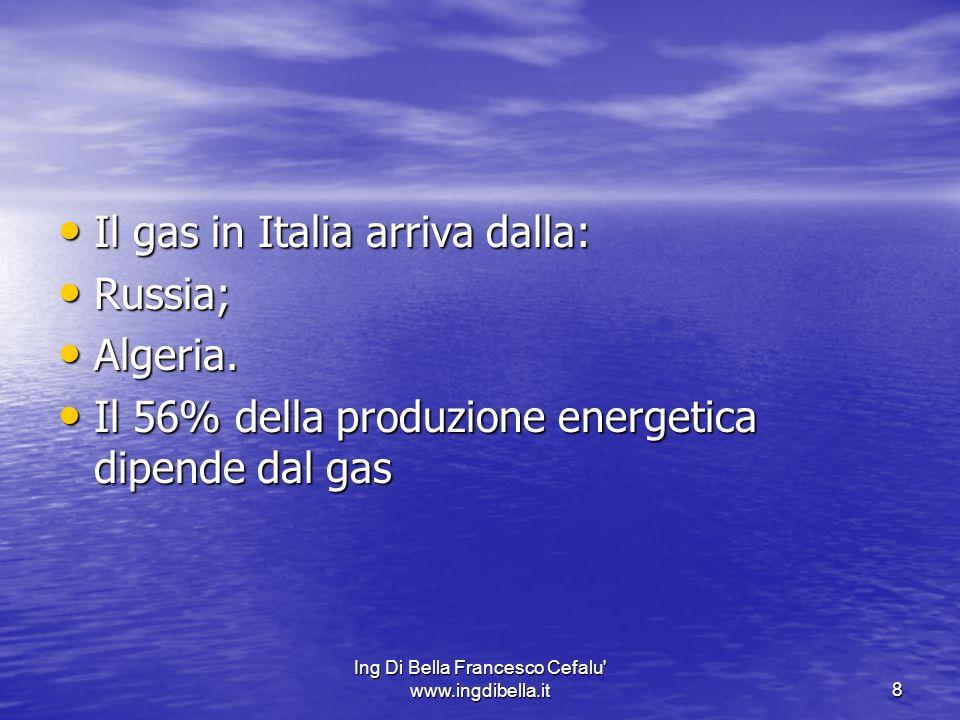 Ing Di Bella Francesco Cefalu' www.ingdibella.it8 Il gas in Italia arriva dalla: Il gas in Italia arriva dalla: Russia; Russia; Algeria. Algeria. Il 5