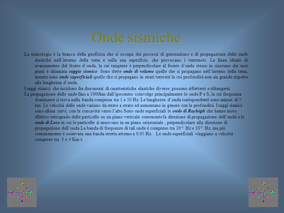 Onde sismiche La sismologia è la branca della geofisica che si occupa dei processi di generazione e di propagazione delle onde elastiche nellinterno della terra e sulla sua superficie, che provocano i terremoti.