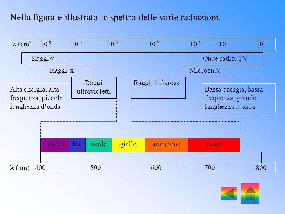 Tutte le onde elettromagnetiche si propagano alla velocità della luce: c = 3.1010 cm/sec. La distanza tra due picchi di un onda si chiama lunghezza do