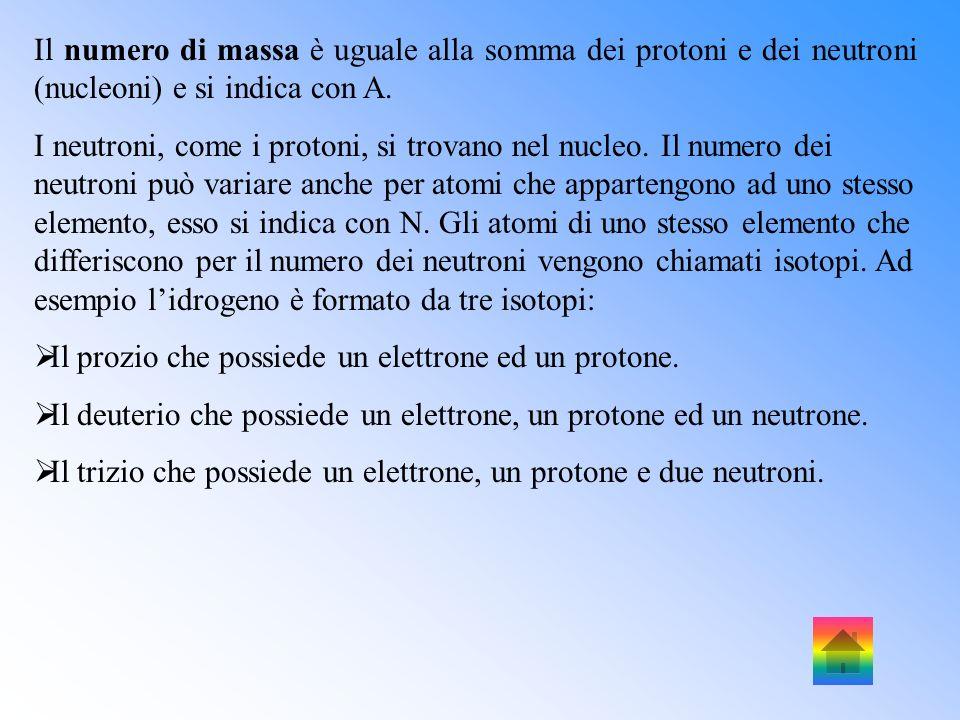 Il numero di massa è uguale alla somma dei protoni e dei neutroni (nucleoni) e si indica con A.