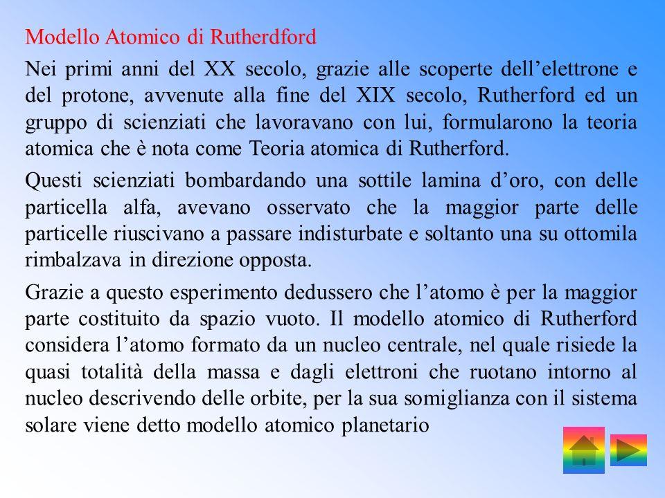 Modello Atomico di Rutherdford Nei primi anni del XX secolo, grazie alle scoperte dellelettrone e del protone, avvenute alla fine del XIX secolo, Rutherford ed un gruppo di scienziati che lavoravano con lui, formularono la teoria atomica che è nota come Teoria atomica di Rutherford.