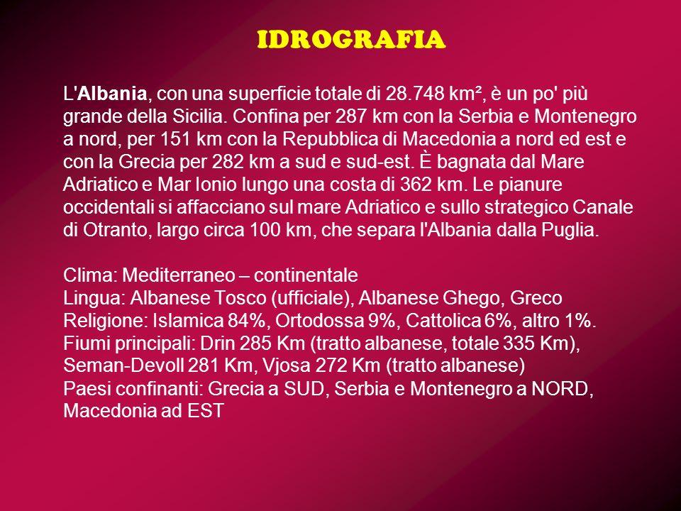 IDROGRAFIA L'Albania, con una superficie totale di 28.748 km², è un po' più grande della Sicilia. Confina per 287 km con la Serbia e Montenegro a nord