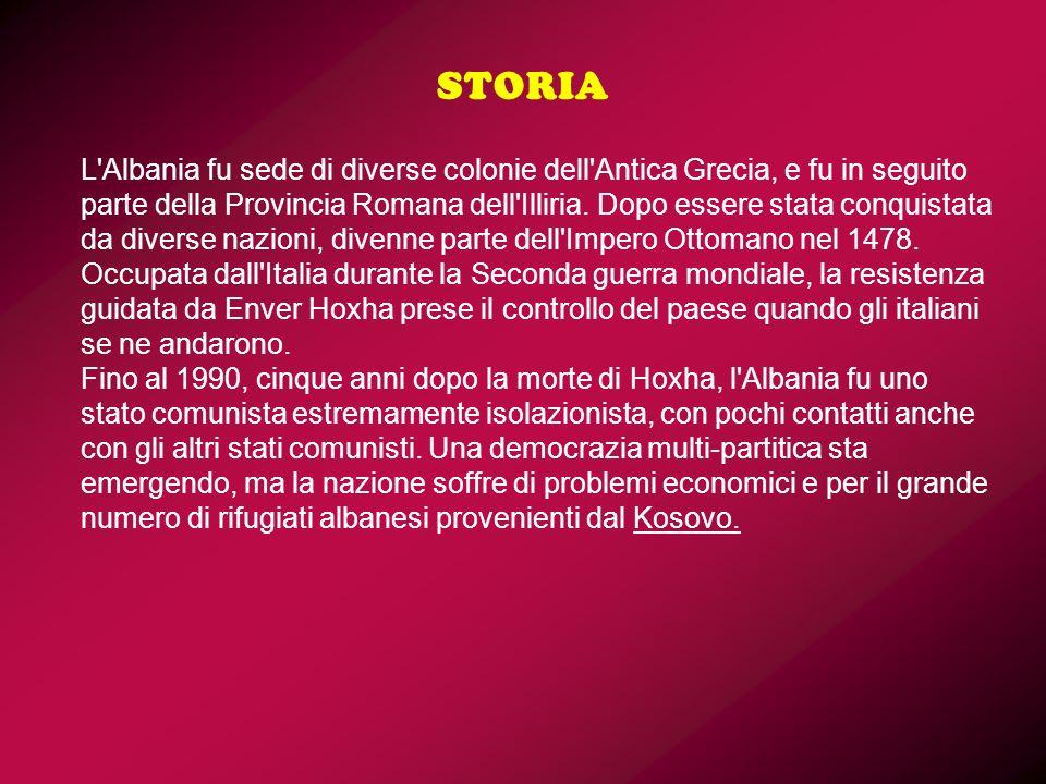 L'Albania fu sede di diverse colonie dell'Antica Grecia, e fu in seguito parte della Provincia Romana dell'Illiria. Dopo essere stata conquistata da d