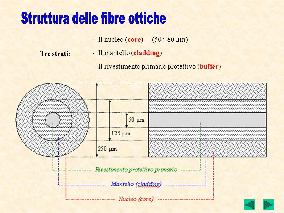 Tre strati: - Il nucleo (core) - (50 80 m) - Il mantello (cladding) - Il rivestimento primario protettivo (buffer)