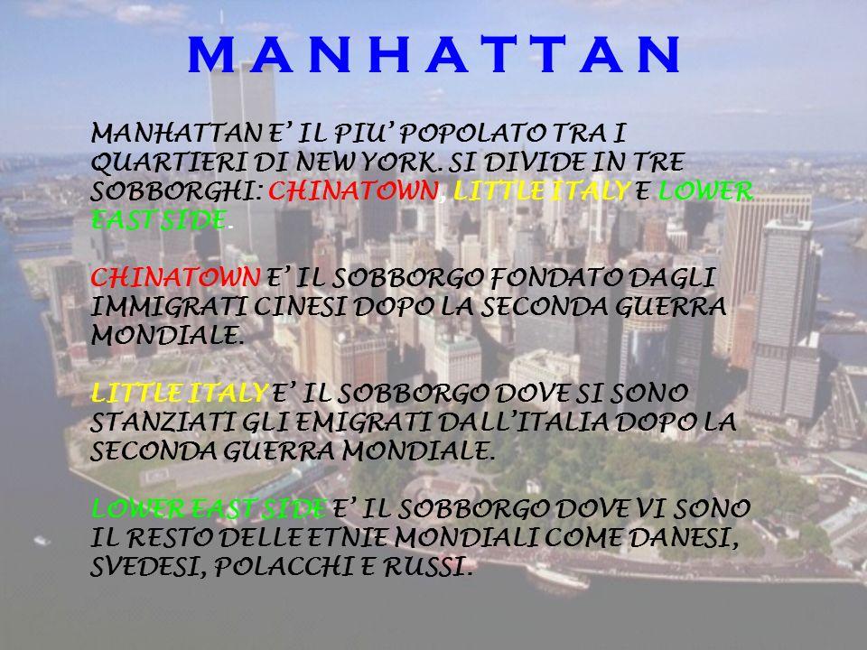 M A N H A T T A N MANHATTAN E IL PIU POPOLATO TRA I QUARTIERI DI NEW YORK. SI DIVIDE IN TRE SOBBORGHI: CHINATOWN, LITTLE ITALY E LOWER EAST SIDE. CHIN