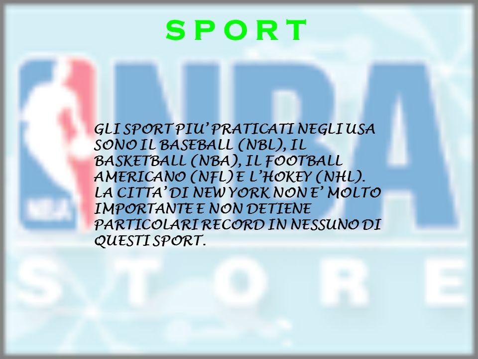 S P O R T GLI SPORT PIU PRATICATI NEGLI USA SONO IL BASEBALL (NBL), IL BASKETBALL (NBA), IL FOOTBALL AMERICANO (NFL) E LHOKEY (NHL). LA CITTA DI NEW Y