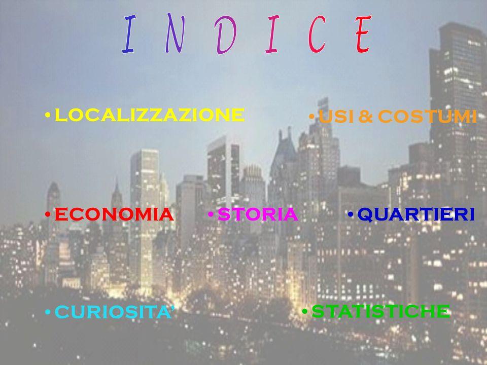 NEW YORK E LOCALIZZATA A 74° DI LONGITUDINE OVEST E A 41° DI LATITUDINE NORD, UNA PARTE DI ESSA GIACE SU UNA PENISOLA.