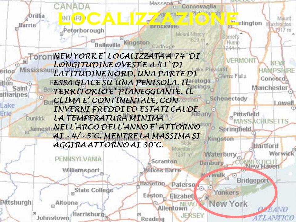NEW YORK E LOCALIZZATA A 74° DI LONGITUDINE OVEST E A 41° DI LATITUDINE NORD, UNA PARTE DI ESSA GIACE SU UNA PENISOLA. IL TERRITORIO E PIANEGGIANTE. I