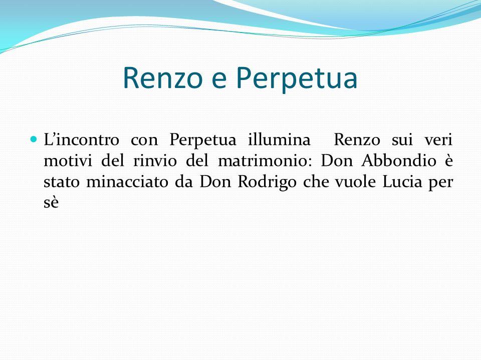 Renzo e Perpetua Lincontro con Perpetua illumina Renzo sui veri motivi del rinvio del matrimonio: Don Abbondio è stato minacciato da Don Rodrigo che v