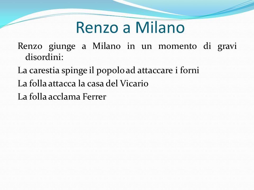 Renzo a Milano Renzo giunge a Milano in un momento di gravi disordini: La carestia spinge il popolo ad attaccare i forni La folla attacca la casa del