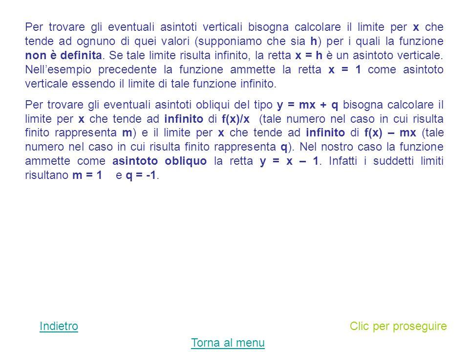 Clic per proseguireIndietro Per trovare leventuale asintoto orizzontale di una funzione bisogna calcolare il limite per x che tende ad infinito della funzione.