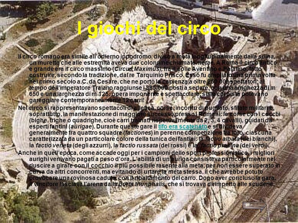 Lanfiteatro Lanfiteatro aveva una forma ellittica e si sviluppava su tre o quattro, piani con diversi ordini di gradinate che digradavano fino allarena, lo spazio vuoto dove si svolgevano i giochi o i combattimenti.