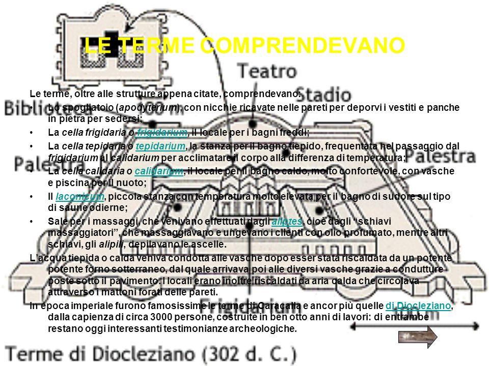 LE TERME COMPRENDEVANO Le terme, oltre alle strutture appena citate, comprendevano: Lo spogliatoio (apodyterium), con nicchie ricavate nelle pareti pe