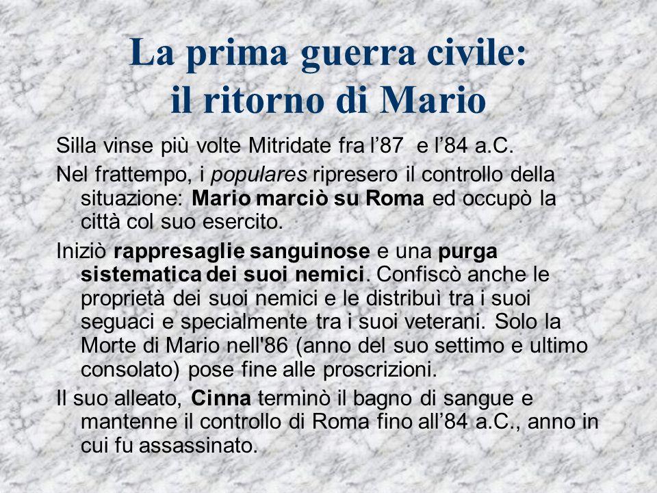 La prima guerra civile: il ritorno di Mario Silla vinse più volte Mitridate fra l87 e l84 a.C. Nel frattempo, i populares ripresero il controllo della