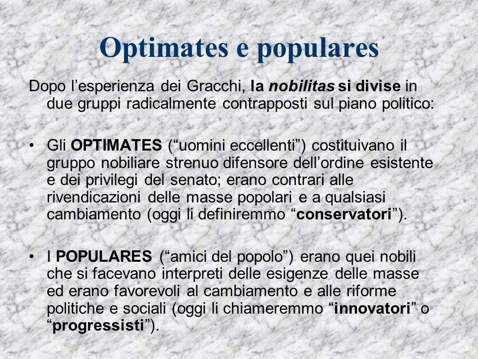 Optimates e populares Dopo lesperienza dei Gracchi, la nobilitas si divise in due gruppi radicalmente contrapposti sul piano politico: Gli OPTIMATES (