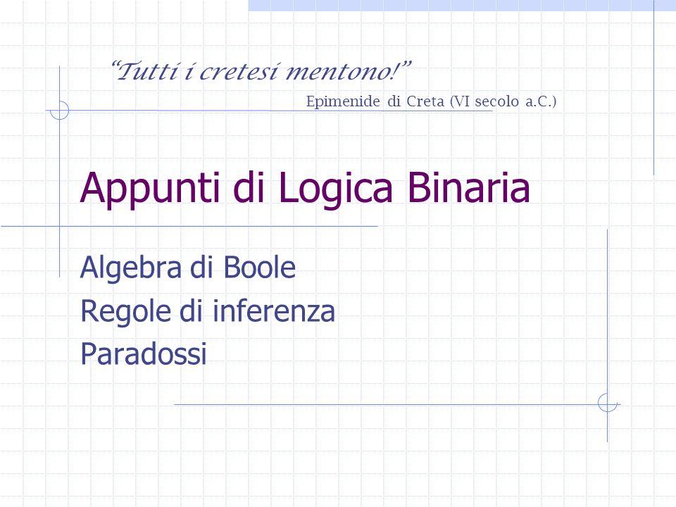 Appunti di Logica Binaria Algebra di Boole Regole di inferenza Paradossi Tutti i cretesi mentono.
