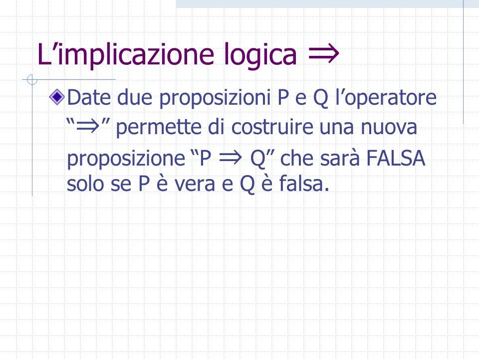 La disgiunzione esclusiva XOR Date due proposizioni P e Q loperatore XOR permette di costruire una nuova proposizione P XOR Q che sarà VERA quando P e