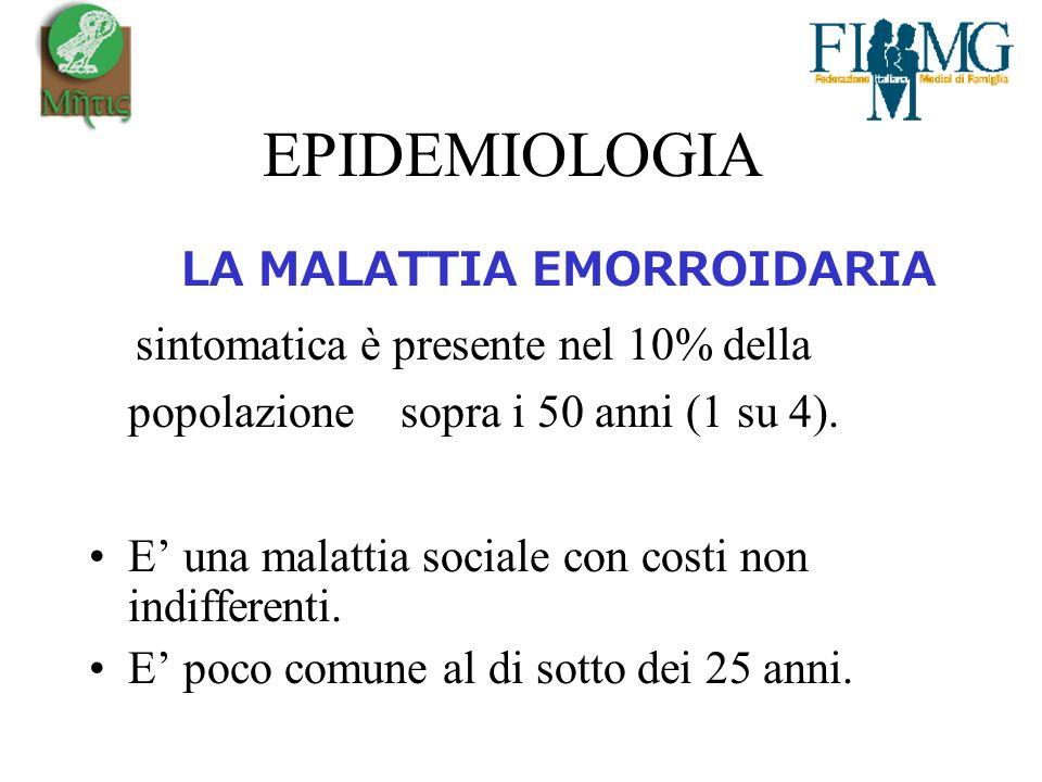 EPIDEMIOLOGIA LA MALATTIA EMORROIDARIA sintomatica è presente nel 10% della popolazione sopra i 50 anni (1 su 4).