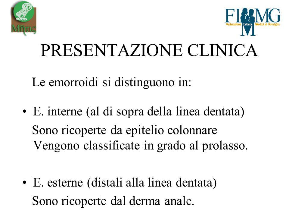 PRESENTAZIONE CLINICA Le emorroidi si distinguono in: E.
