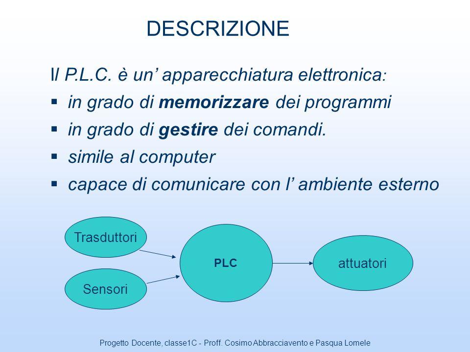 Progetto Docente, classe1C - Proff. Cosimo Abbracciavento e Pasqua Lomele Controllore a Logica Programmabile