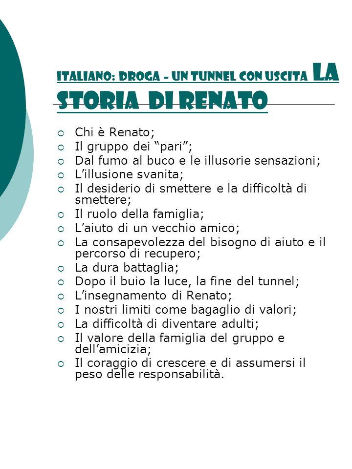 Italiano: DROGA – UN TUNNEL CON USCITA la storia di Renato Chi è Renato; Il gruppo dei pari; Dal fumo al buco e le illusorie sensazioni; Lillusione sv