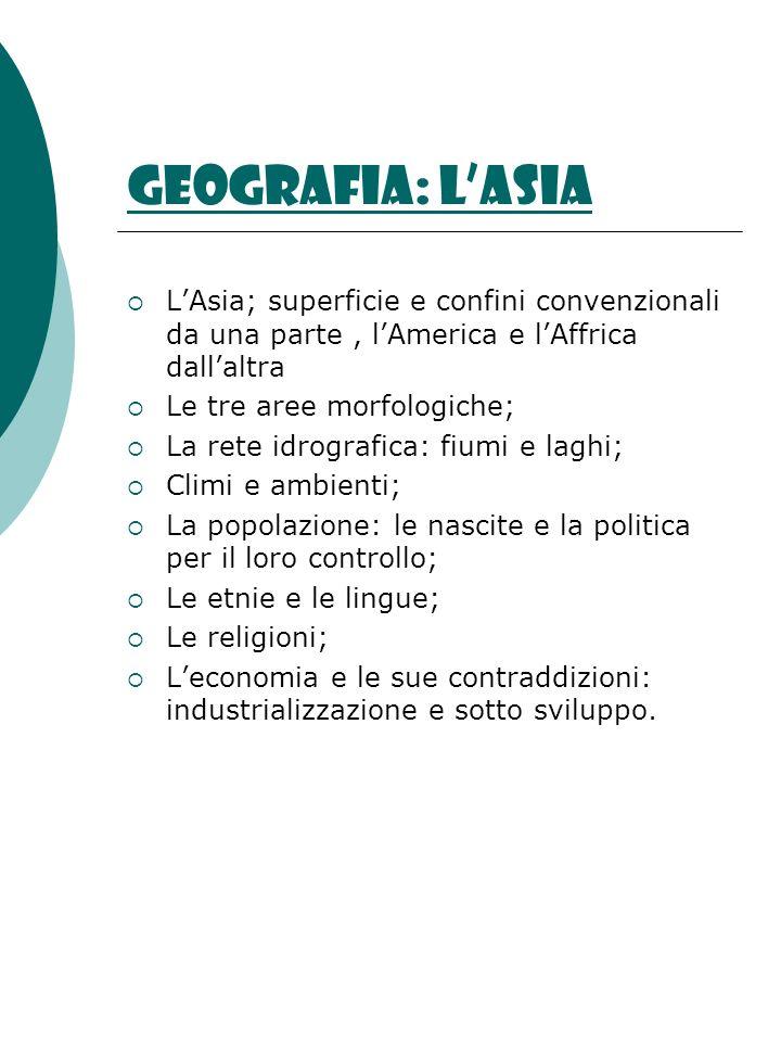 Geografia: lAsia LAsia; superficie e confini convenzionali da una parte, lAmerica e lAffrica dallaltra Le tre aree morfologiche; La rete idrografica: