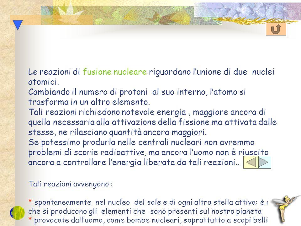 Le reazioni di fissione nucleare riguardano la rottura del nucleo dellatomo. Cambiando il numero di protoni al suo interno, latomo si trasforma in un