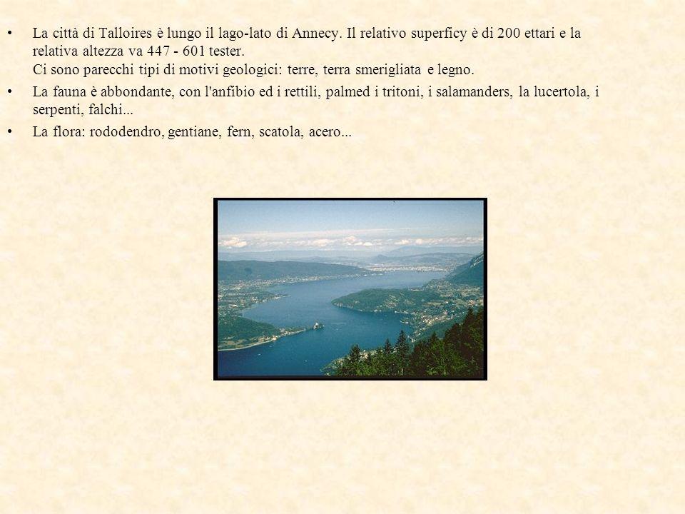 La città di Talloires è lungo il lago-lato di Annecy. Il relativo superficy è di 200 ettari e la relativa altezza va 447 - 601 tester. Ci sono parecch