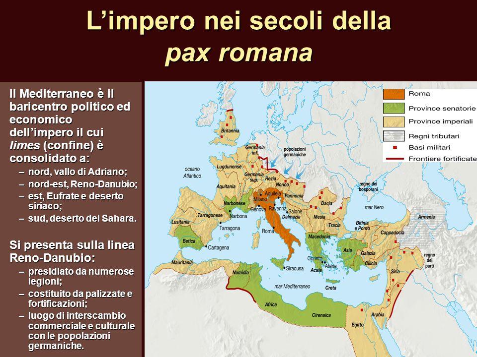 Limpero nei secoli della pax romana Il Mediterraneo è il baricentro politico ed economico dellimpero il cui limes (confine) è consolidato a: –nord, va