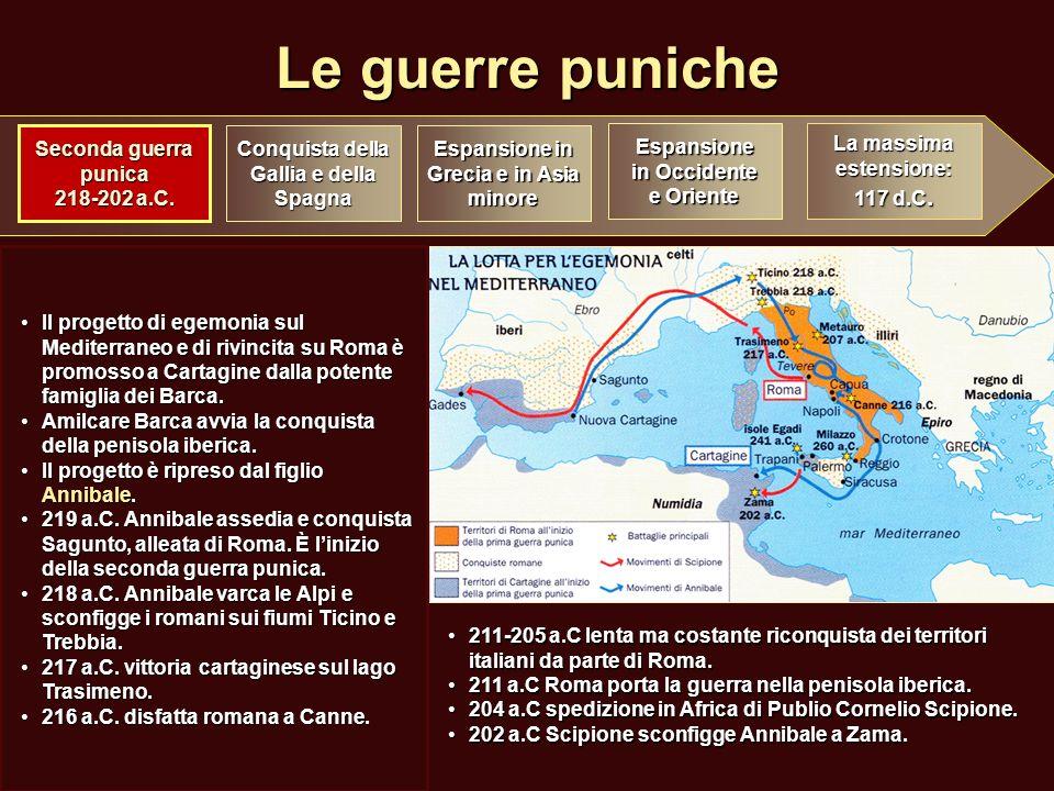 Le guerre puniche Conquista della Gallia e della Spagna Espansione in Grecia e in Asia minore Espansione in Occidente e Oriente La massima estensione: