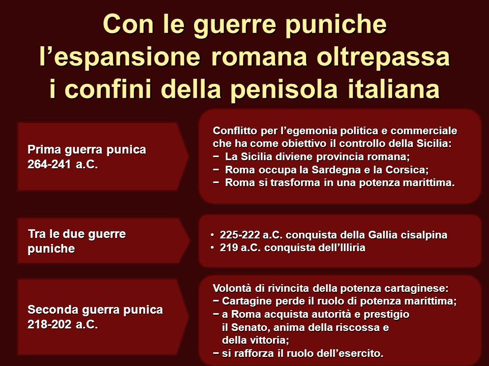 Con le guerre puniche lespansione romana oltrepassa i confini della penisola italiana Conflitto per legemonia politica e commerciale che ha come obiet