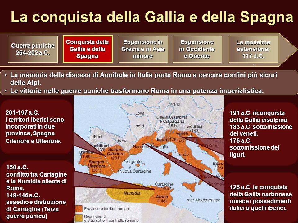 La conquista della Gallia e della Spagna Conquista della Gallia e della Spagna Espansione in Grecia e in Asia minore Espansione in Occidente e Oriente