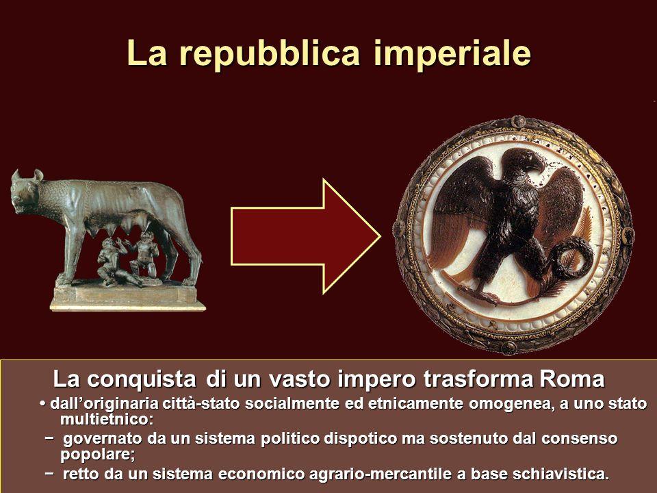 La repubblica imperiale La conquista di un vasto impero trasforma Roma dalloriginaria città-stato socialmente ed etnicamente omogenea, a uno stato mul