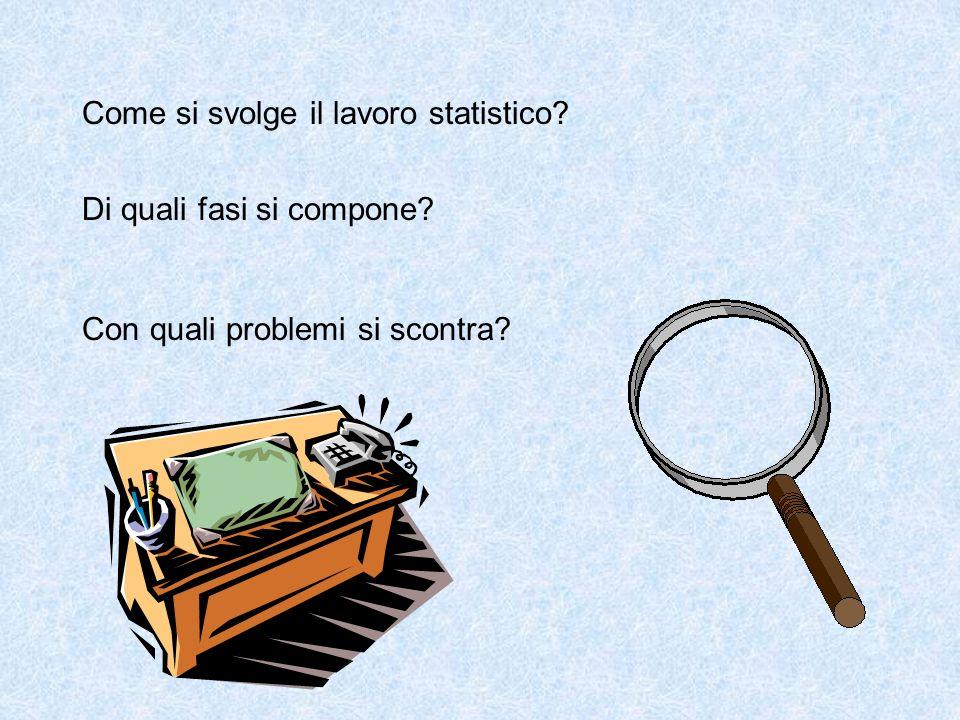 Come si svolge il lavoro statistico Di quali fasi si compone Con quali problemi si scontra