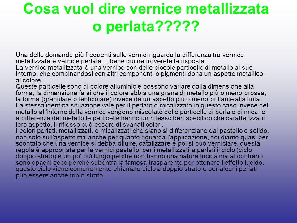 Cosa vuol dire vernice metallizzata o perlata????? Una delle domande più frequenti sulle vernici riguarda la differenza tra vernice metallizzata e ver