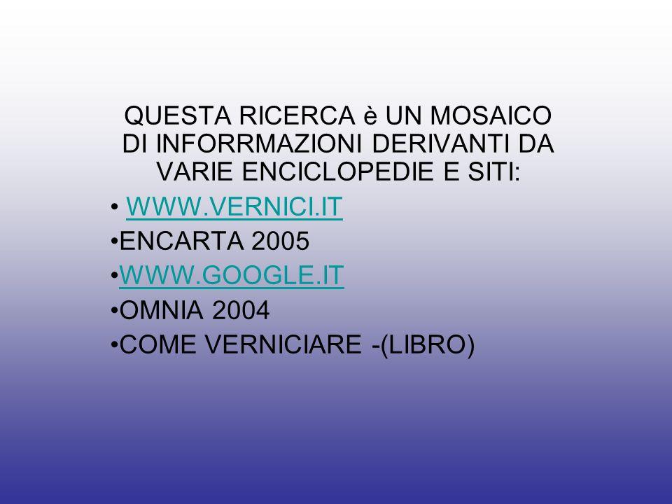 QUESTA RICERCA è UN MOSAICO DI INFORRMAZIONI DERIVANTI DA VARIE ENCICLOPEDIE E SITI: WWW.VERNICI.IT ENCARTA 2005 WWW.GOOGLE.IT OMNIA 2004 COME VERNICI