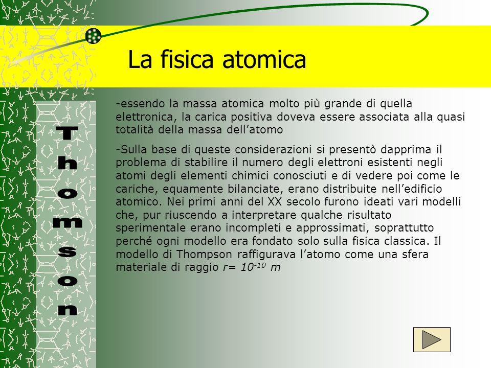 La fisica atomica -essendo la massa atomica molto più grande di quella elettronica, la carica positiva doveva essere associata alla quasi totalità del