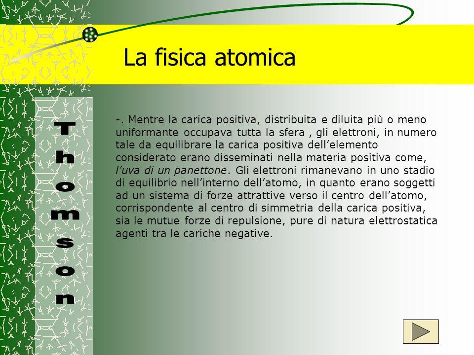 La fisica atomica -. Mentre la carica positiva, distribuita e diluita più o meno uniformante occupava tutta la sfera, gli elettroni, in numero tale da