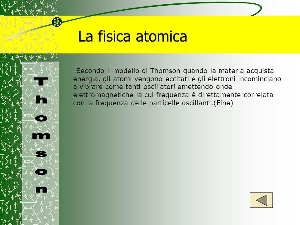 La fisica atomica -Secondo il modello di Thomson quando la materia acquista energia, gli atomi vengono eccitati e gli elettroni incominciano a vibrare